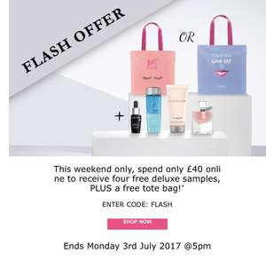 Free tote bag & 4 free deluxe samples from Lancôme with code (min spend applies)