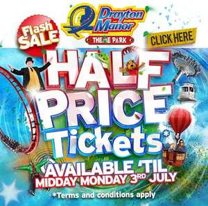 Half price tickets all summer when you book by 3rd July tickets from £14.50 instead of £29 @ Drayton Manor
