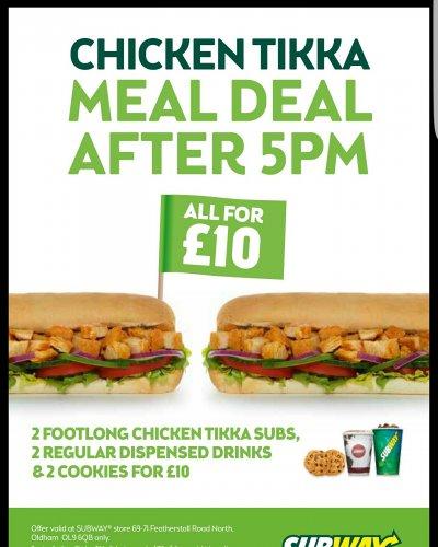 Chicken tikka deal £10 subway