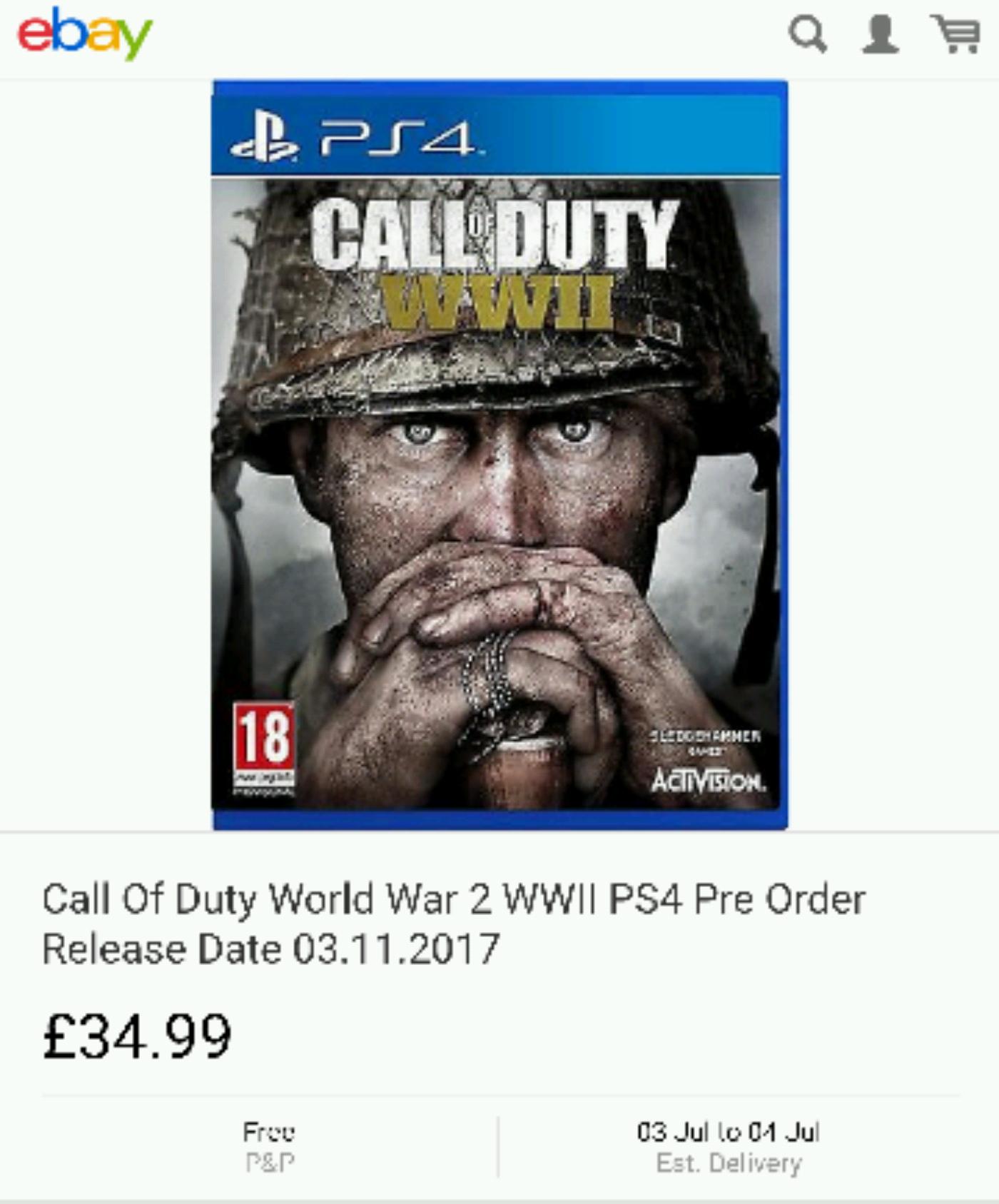 Call Of Duty WW2 PS4 Pre Order seller: skyline-media £34.99 @ ebay