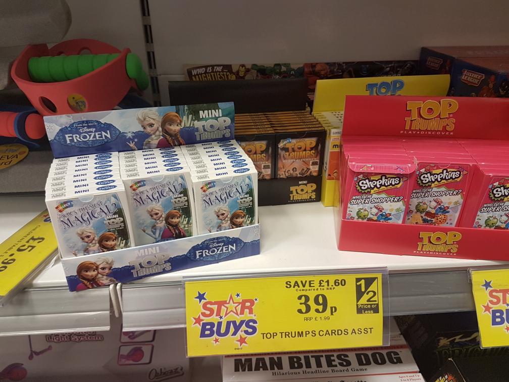 Various top trumps 39p in Home Bargains Shopkins Starwars Marvel