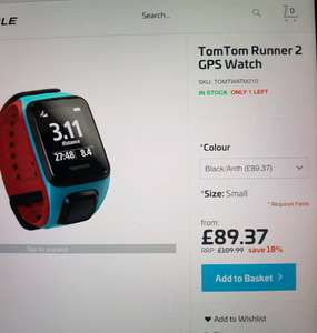 tomtom runner 2 gps watch £89.37 ribblecycles.co.uk