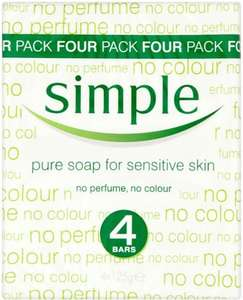Simple Pure Soap for Sensitive Skin (4 x 125g) was £2.50 now £1.25 @ Tesco