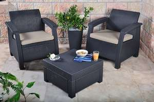 Keter Corfu Outdoor Rattan Balcony Garden Furniture Set, 2 Seater - Graphite with Mushroom Cushions £99.99 @ Amazon