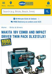 Makita 18v Combi And Impact Driver Twin Pack DLX2131JX1 £219.99 | Selco
