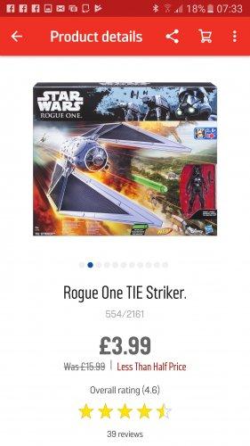 Star wars Rogue one Tie Striker Nerf £3.99 @ Argos