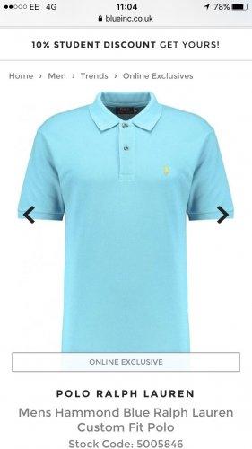 Mens Ralph Lauren Custom Fit Polo £37.50 At blueinc