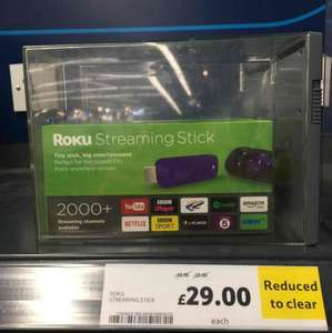 Roku streaming stick  £29 instore @ Tesco  extra Stourbridge