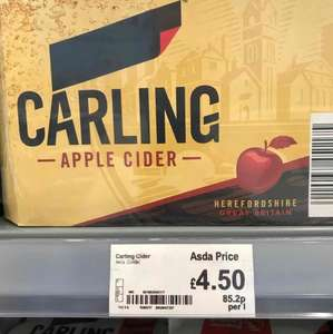 carling cider 12 pack only £4.50 in Asda in store .