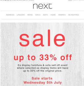 In-Store Sale - Up to 33% off furniture and sofas - Starts 5th July at Next