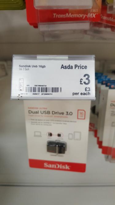 SanDisk dual usb drive 16g £3 @ Asda - cramlington