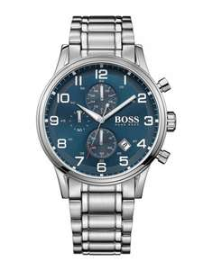 Hugo Boss Aeroliner Blue Face Stainless Steel Chronograph Watch at Ernest Jones £229