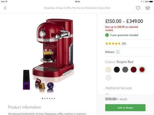 Nespresso Artisan Coffee Machine by KitchenAid, Empire Red £150 @ John Lewis