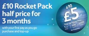 Tesco Mobile: Pay As You Go £10 Rocket Pack Half Price For 3 Months