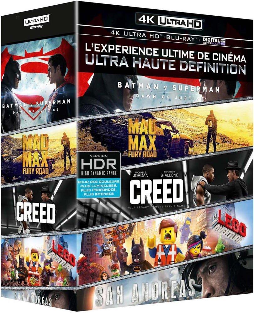 4K Ultra HD  - Batman v Superman + Mad Max Fury Road + Creed + San Andreas + La grande aventure Lego - £43.91 @ Amazon France