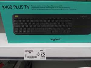 Logitech K400 Plus Wireless Touch Keyboard for Windows, Android and Chrome - QWERTY, UK Layout, Black £8.75 instore @ Asda
