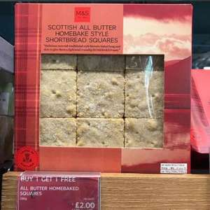 Scottish all butter homebake style shortbread squares, BOGOF.  M&S in store only. 2 boxes for £2