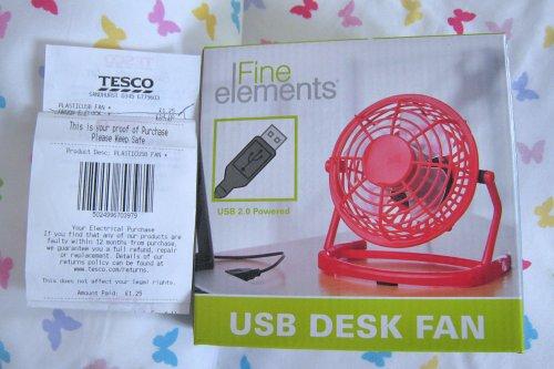 USB Fan 4 inch Red Clearance Tesco Sandhurst £1.25