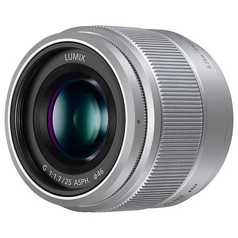 Panasonic LUMIX G 25mm f/1.7 Lens (MFT), Silver - John Lewis £109.75