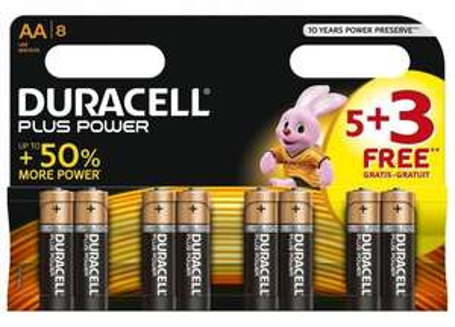 Duracell Plus Power Alkaline Pack of 5+3 AA / AAA Batteries £2.99 each Free C&C @ Argos