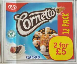 Classic Cornetto 12 pack. 2 for £5 at Farmfoods
