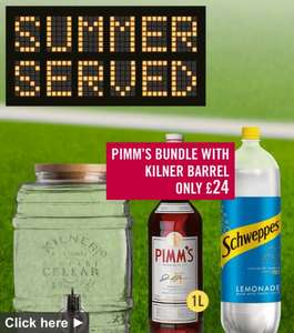 Pimm's Bundle @ Ocado,5L Kilner Barrel with Tap, 1L Pimm's and 3 x 2L Lemonade for £24!  Saving of £20.86!