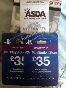 £35 PlayStation network top up cards Asda toxic clearance in store  Llanelli Living