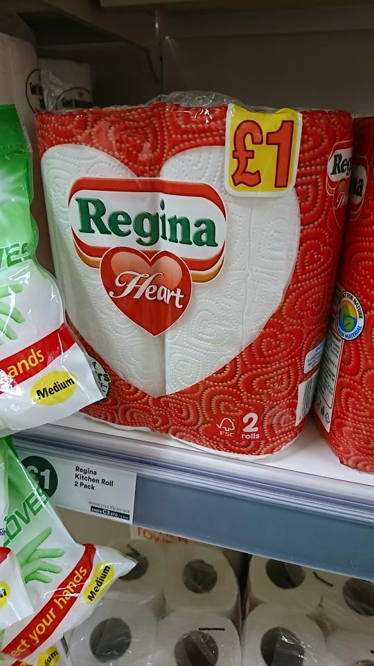 regina heart 2pk 3-ply 50 sheets per roll £1 @ Iceland instore Wolverhampton