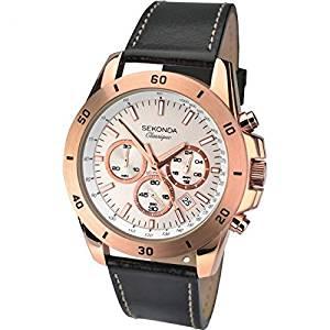 sekonda Men's Quartz Watch with rose gold dial chronograph @ Amazon - £10.58 Prime / £14.57 non-Prime