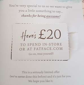 Free £20 voucher in Fatface catalogue, no minimum spend, in-store or online