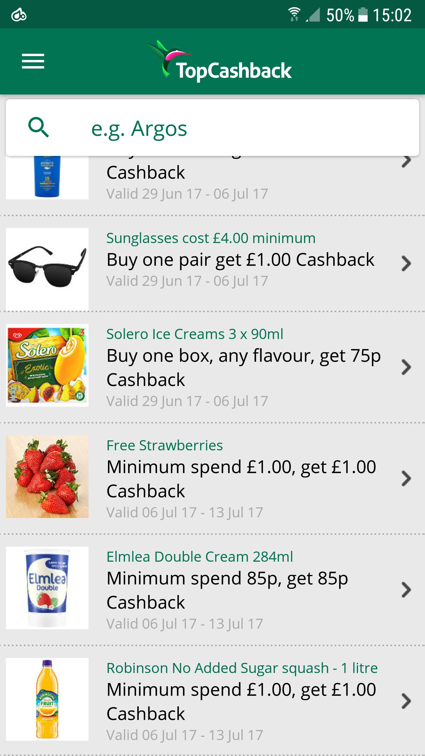 cash back on Wimbledon faves at topcashback e.g Robinsons NAS squash £1.00 in Asda/Morrisons/Coop so free after cashback.