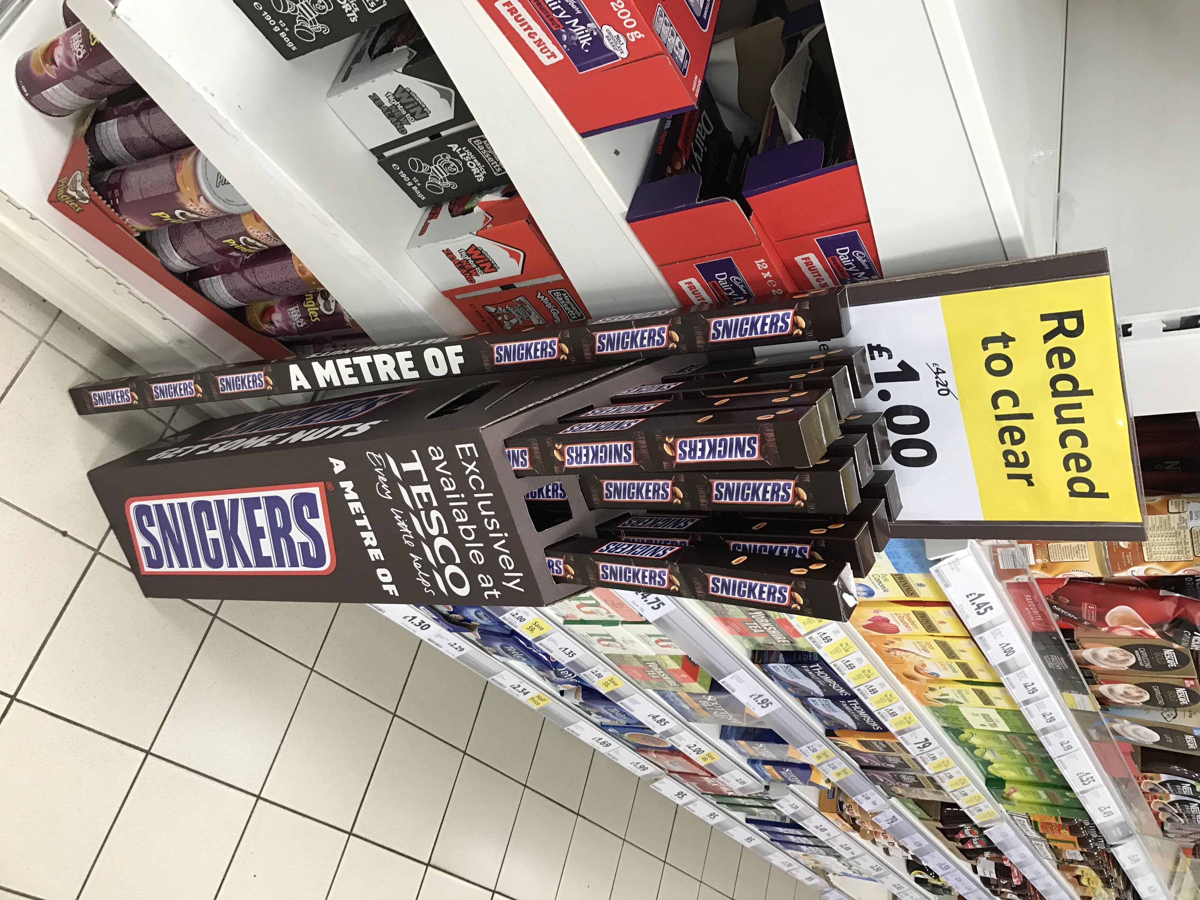 Snickers bars 1 metre long £1 @ Tesco