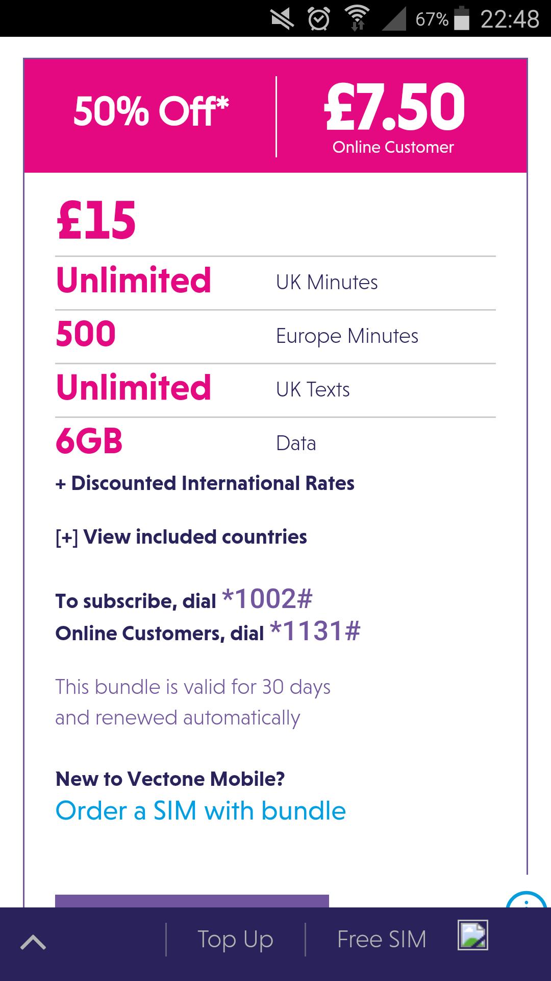 Vectone half price online sim offers