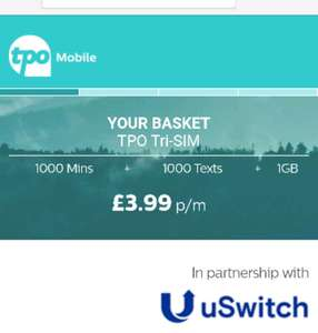 Sim Only Deal £3.99 P/M 1GB data, 500mins talk and ultd text @ TPO
