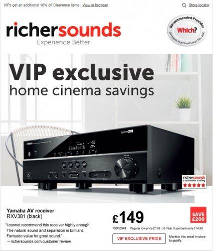 Yamaha RXV381 AV Receiver - £149 Richersounds VIP Price