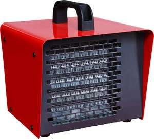 Electric 2000W Red & Black Portable Ceramic heater - Was £39, then £31, now £15 Delivered/C&C @ B&Q + 2 year guarantee