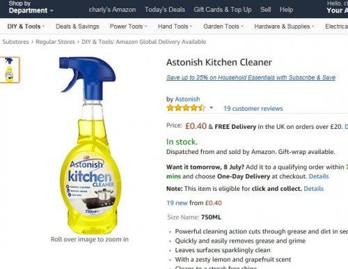 Astonish Kitchen Cleaner 40p @ amazon - add on item