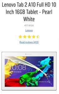 Lenovo Tab 2 A10 Full HD 10 Inch 16GB Tablet - Pearl White £139.99 Argos