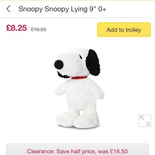 Snoopy soft toy 9'' £8.25 @ Ocado