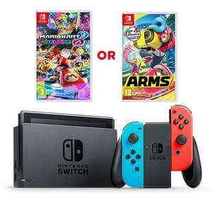Nintendo Switch (Neon/Blue and grey) with choice of Mario Kart 8 Deluxe or ARMS £309.99 in stock @ Smyths Toys