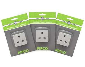 3-PACK PIFCO UK 3-Pin to Continental European 2-Pin Travel Mains Plug Adapter = £3.79 delivered @ 7DayShop
