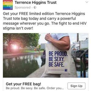 Free Terrence Higgins Trust tote Bag