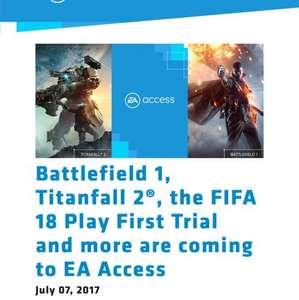 battlefield 1 + titanfall 2 coming to EA access