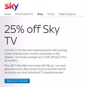 25% off Sky TV 18m contract