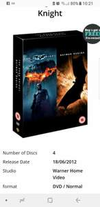 Dark knight trilogy on dvd for 1.99 from music magpie - used
