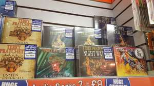 Terry Pratchett Audiobook CDs 2 for £8 at The Works