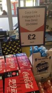 Coca-Cola Coke Fridge Pack 8 + 2 Coke Zero free = 10 pack (330ml) for only £2 @ Heron Foods