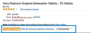 Fairy Platinum Original Dishwasher Tablets - 70 Tablets £6.30 (Subscribe & Save)