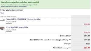 """panasonic 250w soundbar and JVC 32"""" HD ready tv combined offer using discount code £258.99 @ Currys"""