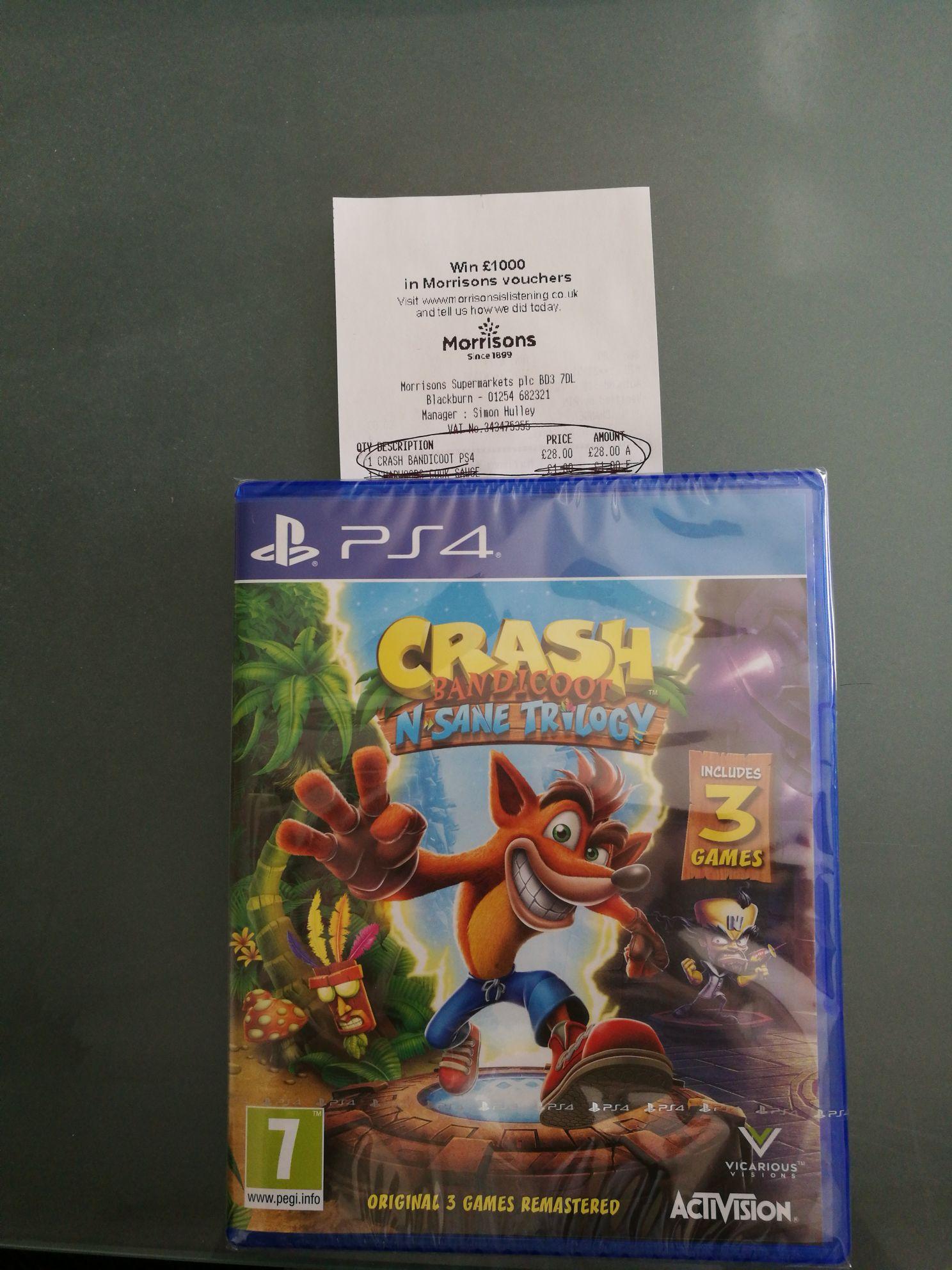Crash Bandicoot Nsane Trilogy £28 in Morrisons